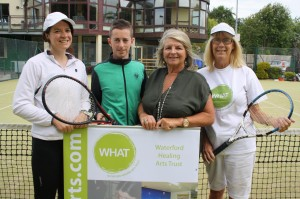 Claire Meaney (WHAT), Neil Hanlon (St Anne's Tennis Club Junior Club Captain), Shirley O'Shea & Phyllis O'Shea (both WHAT Fundraising C'tee)